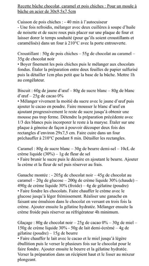 Recette buche chocolat caramel pois chiches Gumi